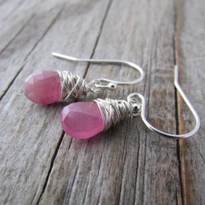 Shop Sapphire Earrings! Pink Sapphire Earrings, Small, Wire Wrapped, Silver Earrings, Pink Sapphires | Natural genuine Sapphire earrings. Buy crystal jewelry, handmade handcrafted artisan jewelry for women.  Unique handmade gift ideas. #jewelry #beadedearrings #beadedjewelry #gift #shopping #handmadejewelry #fashion #style #product #earrings #affiliate #ad