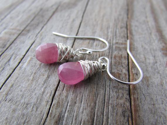 Pink Sapphire Earrings, Small, Wire Wrapped, Silver Earrings, Pink Sapphires