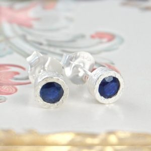 Sapphire Earrings, Stud Earrings, Birthstone Earrings, Anniversary Earrings, Blue Sapphire, Silver Jewelry, Textured Earring, Round Earrings | Natural genuine Sapphire earrings. Buy crystal jewelry, handmade handcrafted artisan jewelry for women.  Unique handmade gift ideas. #jewelry #beadedearrings #beadedjewelry #gift #shopping #handmadejewelry #fashion #style #product #earrings #affiliate #ad