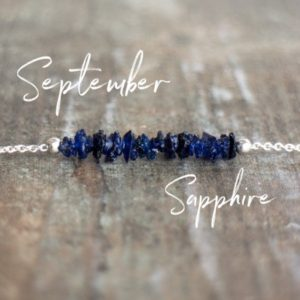 Shop Sapphire Jewelry! Raw Sapphire Necklace, Indigo Sapphire Jewelry, September Birthstone Necklace, Raw Stone Birthstones Jewelry Gifts For Women | Natural genuine Sapphire jewelry. Buy crystal jewelry, handmade handcrafted artisan jewelry for women.  Unique handmade gift ideas. #jewelry #beadedjewelry #beadedjewelry #gift #shopping #handmadejewelry #fashion #style #product #jewelry #affiliate #ad