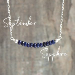 Shop Sapphire Necklaces! September Birthstone Sapphire Bar Necklace, Gift For Girlfriend | Natural genuine Sapphire necklaces. Buy crystal jewelry, handmade handcrafted artisan jewelry for women.  Unique handmade gift ideas. #jewelry #beadednecklaces #beadedjewelry #gift #shopping #handmadejewelry #fashion #style #product #necklaces #affiliate #ad