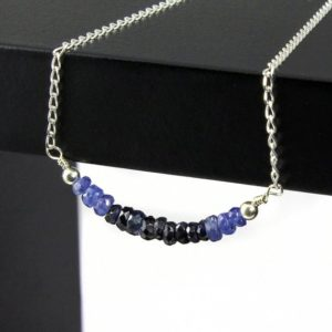 Shop Sapphire Necklaces! Sapphire Necklace Sterling Silver – Sapphire Rondelles Necklace – Row Of Hand Cut Sapphires | Natural genuine Sapphire necklaces. Buy crystal jewelry, handmade handcrafted artisan jewelry for women.  Unique handmade gift ideas. #jewelry #beadednecklaces #beadedjewelry #gift #shopping #handmadejewelry #fashion #style #product #necklaces #affiliate #ad