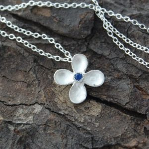 Shop Sapphire Pendants! Silver Sapphire Necklace, Flower Necklace, Silver Flower Pendant, Dainty Necklace, Bridesmaids Necklace, 925 Silver Necklace, silver Gemstone | Natural genuine Sapphire pendants. Buy crystal jewelry, handmade handcrafted artisan jewelry for women.  Unique handmade gift ideas. #jewelry #beadedpendants #beadedjewelry #gift #shopping #handmadejewelry #fashion #style #product #pendants #affiliate #ad