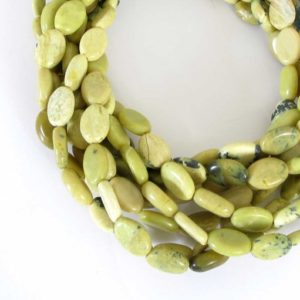 Shop Serpentine Bead Shapes! Oval Serpentine Beads, 14mm Serpentine Oval Beads, Full Strand, Yellow Green Gemstone Beads, Natural Serpentine Beads, Ser200 | Natural genuine other-shape Serpentine beads for beading and jewelry making.  #jewelry #beads #beadedjewelry #diyjewelry #jewelrymaking #beadstore #beading #affiliate