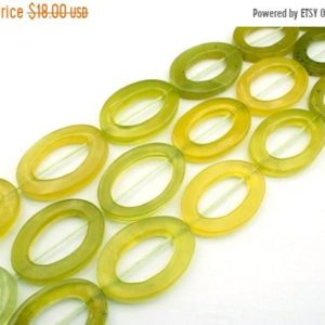 Shop Serpentine Bead Shapes! Green Serpentine 24-26mm oval hoop beads (ETB01288) | Natural genuine other-shape Serpentine beads for beading and jewelry making.  #jewelry #beads #beadedjewelry #diyjewelry #jewelrymaking #beadstore #beading #affiliate
