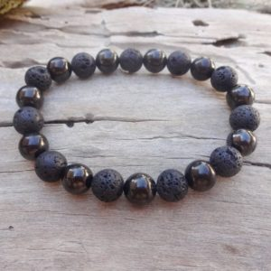 Black everyday bracelet with Shungite Basalt Lava /Healing bracelet Men gift for Husband Office jewelry | Natural genuine Array bracelets. Buy crystal jewelry, handmade handcrafted artisan jewelry for women.  Unique handmade gift ideas. #jewelry #beadedbracelets #beadedjewelry #gift #shopping #handmadejewelry #fashion #style #product #bracelets #affiliate #ad