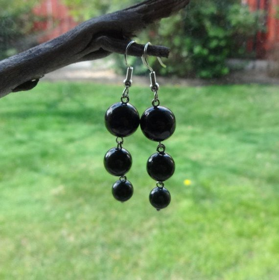 Shungite Long Dangle Earrings /emf Protection Jewelry For Office