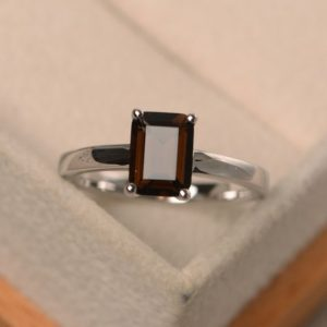 Shop Smoky Quartz Rings! Natural Smoky Quartz Ring, Elegant Solitaire Ring, emerald Cut Brown Gemstone, Sterling Silver Ring | Natural genuine Smoky Quartz rings, simple unique handcrafted gemstone rings. #rings #jewelry #shopping #gift #handmade #fashion #style #affiliate #ad