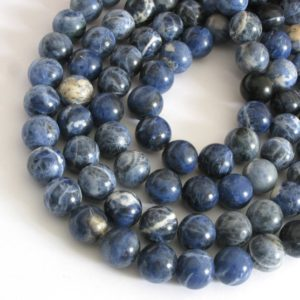Shop Sodalite Round Beads! 12mm Sodalite Beads, 12mm Round Sodalite Beads, Denim Blue Gemstone Beads, Full Strand, Blue Sodalite, Large Smooth Round Beads, Sod202 | Natural genuine round Sodalite beads for beading and jewelry making.  #jewelry #beads #beadedjewelry #diyjewelry #jewelrymaking #beadstore #beading #affiliate #ad