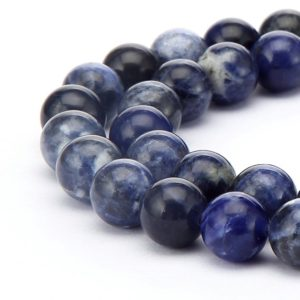 "Sodalite Smooth Round Beads 4mm 6mm 8mm 10mm 12mm 14mm 16mm 18mm 15.5"" Strand 