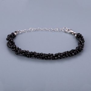 Shop Spinel Bracelets! Black Spinel Bracelet Black Jewelry gift for her Twisted Black Spinel Bracelet Three Line Handmade Jewelry with Adjustable Silver Clasp | Natural genuine Spinel bracelets. Buy crystal jewelry, handmade handcrafted artisan jewelry for women.  Unique handmade gift ideas. #jewelry #beadedbracelets #beadedjewelry #gift #shopping #handmadejewelry #fashion #style #product #bracelets #affiliate #ad