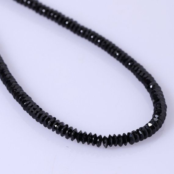 Black Spinel Disc Shape Diamond Cut Necklace Black Spinel Gemstone Necklace Black Spinel Jewelry Birthday Gift For Her Christmas Gift