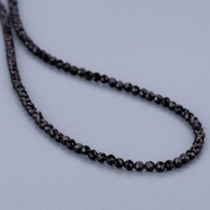 Shop Spinel Necklaces! Black Spinel Faceted Round Necklace,Beaded Gemstone Necklace,Party Necklace, Gift. | Natural genuine Spinel necklaces. Buy crystal jewelry, handmade handcrafted artisan jewelry for women.  Unique handmade gift ideas. #jewelry #beadednecklaces #beadedjewelry #gift #shopping #handmadejewelry #fashion #style #product #necklaces #affiliate #ad
