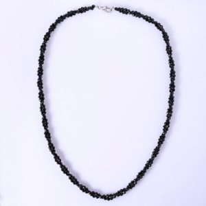 Shop Spinel Necklaces! Thai Protective Black Spinel Coiled Two Strands Faceted Rondelles Necklace | Natural genuine Spinel necklaces. Buy crystal jewelry, handmade handcrafted artisan jewelry for women.  Unique handmade gift ideas. #jewelry #beadednecklaces #beadedjewelry #gift #shopping #handmadejewelry #fashion #style #product #necklaces #affiliate #ad