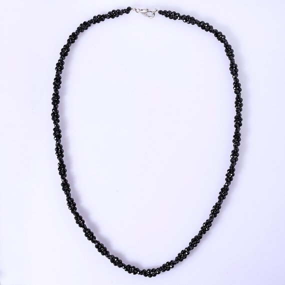 Thai Protective Black Spinel Coiled Two Strands Faceted Rondelles Necklace