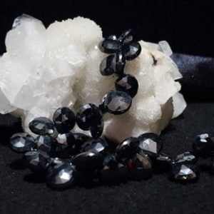 Shop Spinel Bead Shapes! Mystic Black Spinel A-grade Faceted Briolette Beads 8 In. Strand, Silver Mystic Black, Heart Briolettes Beads, Genuine Black Spinel Beads | Natural genuine other-shape Spinel beads for beading and jewelry making.  #jewelry #beads #beadedjewelry #diyjewelry #jewelrymaking #beadstore #beading #affiliate #ad