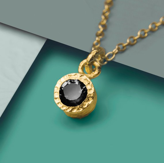 Gold Gemstone Necklace, Black Spinel Necklace, Necklace, Designer Gemstone Necklace, Simple Necklace, Round Pendant, Gold Vermeil Necklace