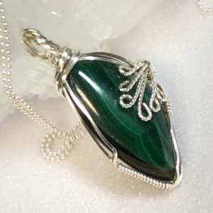 Shop Malachite Pendants! Womens Emerald Green Gemstone Pendant, Wire Wrapped Gemstone Pendant, Malachite Pendant Necklace, Sterling and Malachite. | Natural genuine Malachite pendants. Buy crystal jewelry, handmade handcrafted artisan jewelry for women.  Unique handmade gift ideas. #jewelry #beadedpendants #beadedjewelry #gift #shopping #handmadejewelry #fashion #style #product #pendants #affiliate #ad