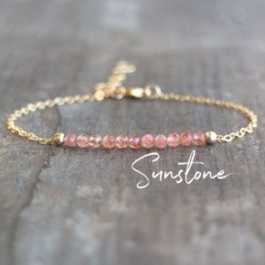 Sunstone Bracelet, Dainty Crystal Bracelet, Good Luck Crystal Jewelry, Bridesmaid Gifts For Her, Gemstone Beaded Bracelet, Bohemian Jewelry | Natural genuine Sunstone bracelets. Buy crystal jewelry, handmade handcrafted artisan jewelry for women.  Unique handmade gift ideas. #jewelry #beadedbracelets #beadedjewelry #gift #shopping #handmadejewelry #fashion #style #product #bracelets #affiliate #ad