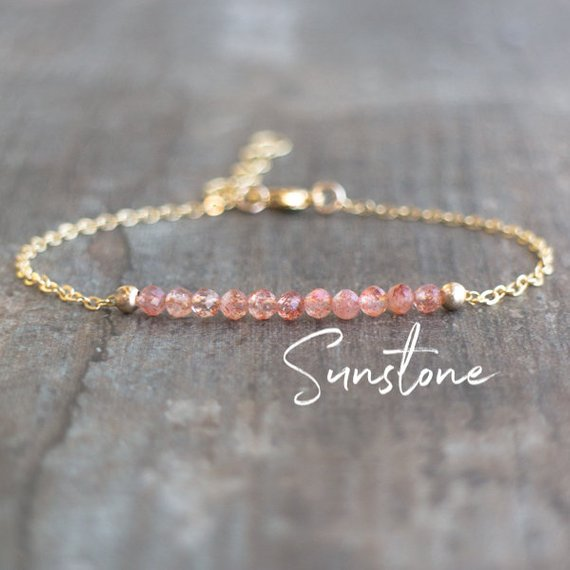 Sunstone Bracelet, Dainty Crystal Bracelet, Good Luck Crystal Jewelry, Bridesmaid Gifts For Her, Gemstone Beaded Bracelet, Bohemian Jewelry