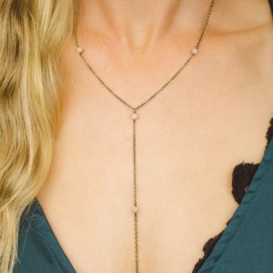 "Shop Sunstone Necklaces! Sunstone Crystal Beaded Chain Lariat Necklace In Bronze, Silver, Gold Or Rose Gold. 16"" Chain With 2"" Adjustable Extender And 4"" Drop 
