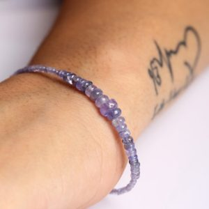Shop Tanzanite Bracelets! Dainty Violet Tanzanite Gemstone Bracelet, Semi Precious Gemstone Bracelet, Something Blue For Wedding, December Birthstone | Natural genuine Tanzanite bracelets. Buy handcrafted artisan wedding jewelry.  Unique handmade bridal jewelry gift ideas. #jewelry #beadedbracelets #gift #crystaljewelry #shopping #handmadejewelry #wedding #bridal #bracelets #affiliate #ad