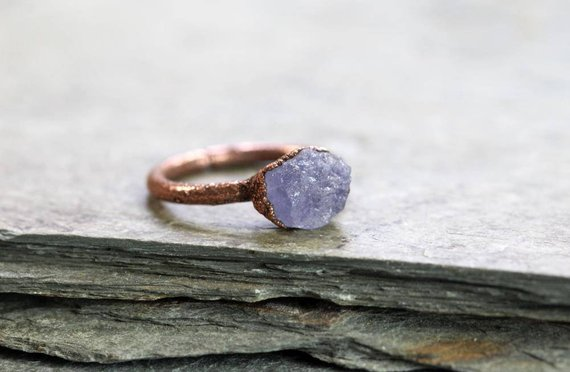 Tanzanite Ring - Raw Stone Jewelry - Periwinkle Blue Crystal Ring