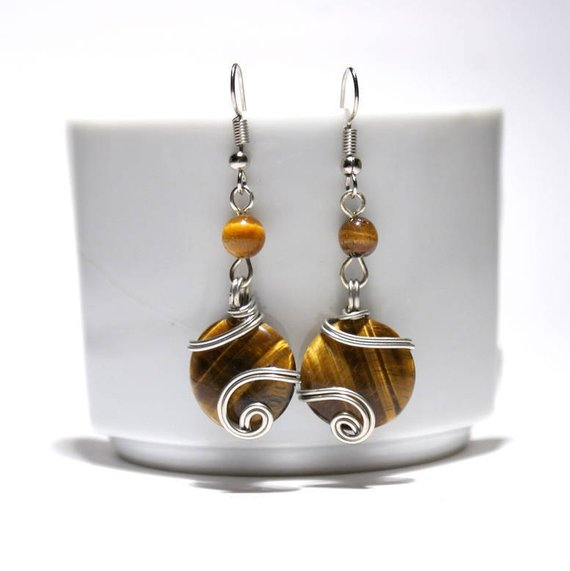 Unique Gifts For Women, Wire Wrapped Tigers Eye Earrings, Wire Wrap Gemstone Earrings, Handmade Jewelry, Christmas Gift, Lovely Gift