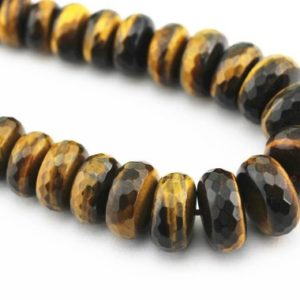 "Shop Tiger Eye Faceted Beads! Yellow Tiger Eye Graduated Faceted Rondelle Beads 8-18mm 15.5"" Strand 