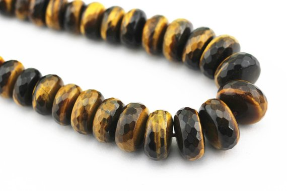 "Yellow Tiger Eye Graduated Faceted Rondelle Beads 8-18mm 15.5"" Strand"