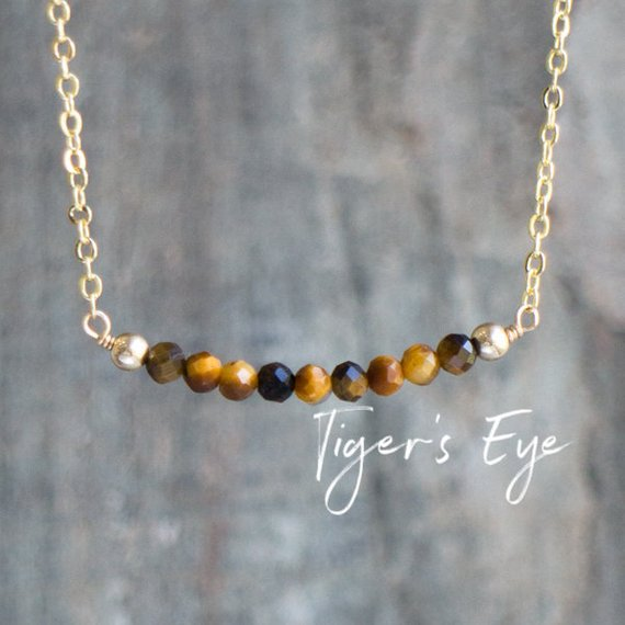 Tigers Eye Necklace    Tiger Eye Jewelry    Gemstone Necklace   Gifts For Women   Crystal Protection Beads   Rose Gold Sterling Silver
