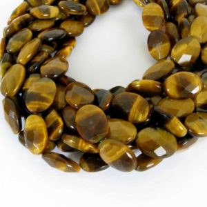 "18mm Tiger's Eye Beads, Faceted Oval Tiger's Eye, Full 15"" Strand, 18mm Faceted Oval Tigereye Beads, Tig201 