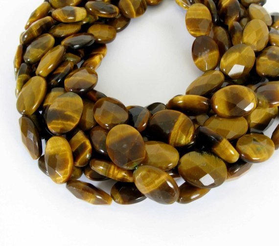 """18mm Tiger's Eye Beads, Faceted Oval Tiger's Eye, Full 15"""" Strand, 18mm Faceted Oval Tigereye Beads, Tig201"""