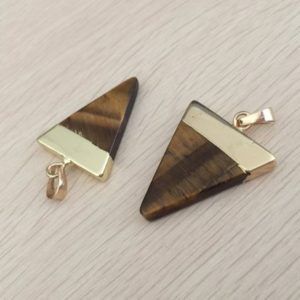 Shop Tiger Eye Beads! Triangle Tigers eye pendant Yellow tiger eye pendant Triangle gemstone Pendant Charms Gold Plated stone necklace making supplies 1 pc | Natural genuine beads Tiger Eye beads for beading and jewelry making.  #jewelry #beads #beadedjewelry #diyjewelry #jewelrymaking #beadstore #beading #affiliate #ad