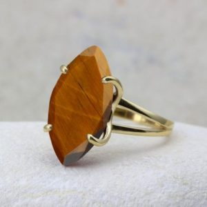 Shop Tiger Eye Rings! Tiger Eye ring,statement ring,cocktail ring,gold ring,solid gold ring,gemstone ring,prong ring | Natural genuine Tiger Eye rings, simple unique handcrafted gemstone rings. #rings #jewelry #shopping #gift #handmade #fashion #style #affiliate #ad