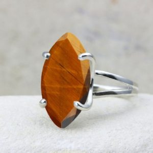 Shop Tiger Eye Rings! Tiger Eye Ring, marquise Ring, silver Ring, cocktail Ring, statement Ring, large Ring, wow Ring, silver Prong Ring | Natural genuine Tiger Eye rings, simple unique handcrafted gemstone rings. #rings #jewelry #shopping #gift #handmade #fashion #style #affiliate #ad