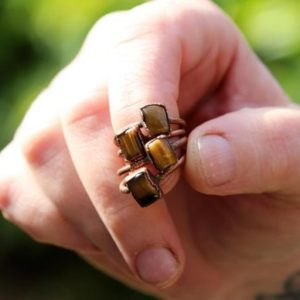 Shop Tiger Eye Rings! Tiger Eye Ring – Small Stone Ring – Electroformed Copper Jewelry | Natural genuine Tiger Eye rings, simple unique handcrafted gemstone rings. #rings #jewelry #shopping #gift #handmade #fashion #style #affiliate #ad