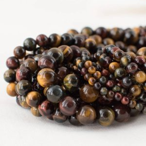 """Shop Tiger Eye Round Beads! High Quality Grade A Multi-colour Tiger Eye Semi-precious Gemstone Round Beads – 4mm, 6mm, 8mm, 10mm sizes – 15.5"""" strand 
