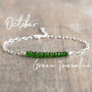 Shop Tourmaline Bracelets! Green Tourmaline Bracelet, October Birthstone Bracelet, Chrome Tourmaline Jewelry, Verdalite Jewelry, Birthstone Jewelry, Wife Gift for Her | Natural genuine Tourmaline bracelets. Buy crystal jewelry, handmade handcrafted artisan jewelry for women.  Unique handmade gift ideas. #jewelry #beadedbracelets #beadedjewelry #gift #shopping #handmadejewelry #fashion #style #product #bracelets #affiliate #ad