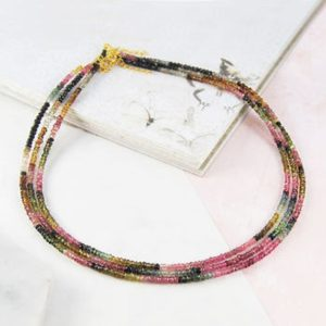 Shop Tourmaline Necklaces! Gold Tourmaline Necklace, Gemstone Necklace, Natural gemstone, Beaded Necklace, Rainbow Tourmaline,Graduated Necklace, 925 Silver Necklace | Natural genuine Tourmaline necklaces. Buy crystal jewelry, handmade handcrafted artisan jewelry for women.  Unique handmade gift ideas. #jewelry #beadednecklaces #beadedjewelry #gift #shopping #handmadejewelry #fashion #style #product #necklaces #affiliate #ad