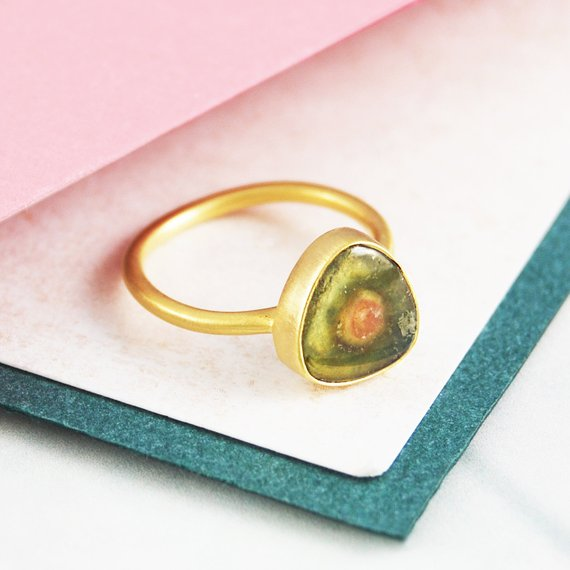 Cocktail Ring, Gold Thin Band, Statement Ring, Fine Jewellery, Gold Ring, Triangle Studs, Watermelon Tourmaline, Unique Gemstone, Embers