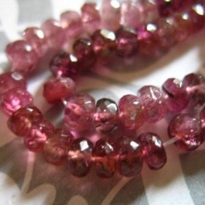 Shop Tourmaline Beads! 10-100 pcs / 3-4 mm, Shaded PINK TOURMALINE Rondelles Gems Beads, Luxe AAA, shaded medium pink to rubellite pink, October birthstone pr 40 | Natural genuine beads Tourmaline beads for beading and jewelry making.  #jewelry #beads #beadedjewelry #diyjewelry #jewelrymaking #beadstore #beading #affiliate #ad