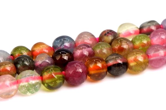"2mm Multicolor Tourmaline Beads Grade A+ Genuine Natural Gemstone Full Strand Round Loose Beads 15.5"" Bulk Lot 1, 3, 5, 10 And 50 (102288-492)"