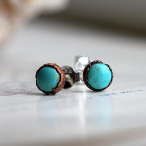 Shop Turquoise Earrings! Turquoise Earrings – Natural Blue Stone Posts – Sterling Silver Studs – Electroformed Stone Earrings | Natural genuine Turquoise earrings. Buy crystal jewelry, handmade handcrafted artisan jewelry for women.  Unique handmade gift ideas. #jewelry #beadedearrings #beadedjewelry #gift #shopping #handmadejewelry #fashion #style #product #earrings #affiliate #ad