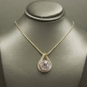 Shop Kunzite Pendants! Vintage Art Deco Estate 14K Gold 10.30TCW Round Kunzite Solitaire & Round + Baguette Diamond Pendant Slide 1"
