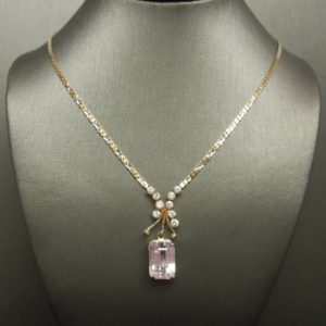 Shop Kunzite Necklaces! Vintage Estate C1980 14K Gold 7.66TCW Traditional Emerald cut Pink Kunzite & Diamond Multi-Tone Gold Chain Necklace 16"