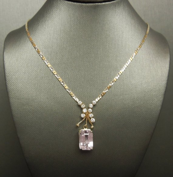 Vintage Estate C1980 14k Gold 7.66tcw Traditional Emerald Cut Pink Kunzite & Diamond Multi-tone Gold Chain Necklace 16""