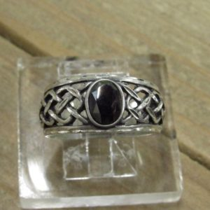Shop Hematite Rings! Vintage Sterling Silver Hematite Ring Size 8 | Natural genuine gemstone jewelry in modern, chic, boho, elegant styles. Buy crystal handmade handcrafted artisan art jewelry & accessories. #jewelry #beaded #beadedjewelry #product #gifts #shopping #style #fashion #product