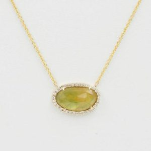 Shop Yellow Sapphire Necklaces! Simple Natural Sapphire Necklace / sapphire Diamond Halo Necklace / 3.5ct. Yellow Sapphire Diamond Necklace / solid 14k Yellow Gold Necklace | Natural genuine Yellow Sapphire necklaces. Buy crystal jewelry, handmade handcrafted artisan jewelry for women.  Unique handmade gift ideas. #jewelry #beadednecklaces #beadedjewelry #gift #shopping #handmadejewelry #fashion #style #product #necklaces #affiliate #ad