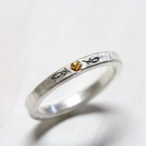 Shop Yellow Sapphire Rings! Orange Yellow Sapphire Wedding Band Delicate Hammered Silver Ring Tiny Leaf Engraving Golden Autumn – Herbstblatt | Natural genuine Yellow Sapphire rings, simple unique alternative gemstone engagement rings. #rings #jewelry #bridal #wedding #jewelryaccessories #engagementrings #weddingideas #affiliate #ad